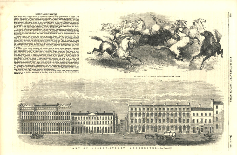 Associate Product Part of Mosley Street, Manchester. Lancashire 1851 antique ILN full page print