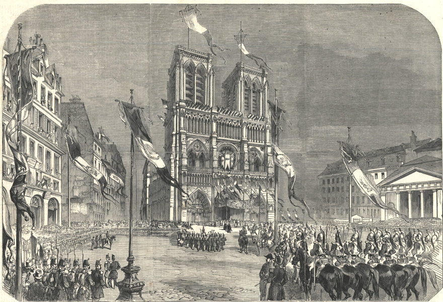 Associate Product Inauguration of Louis Napoleon - Cathedral of Notre Dame. Paris 1852 ILN print
