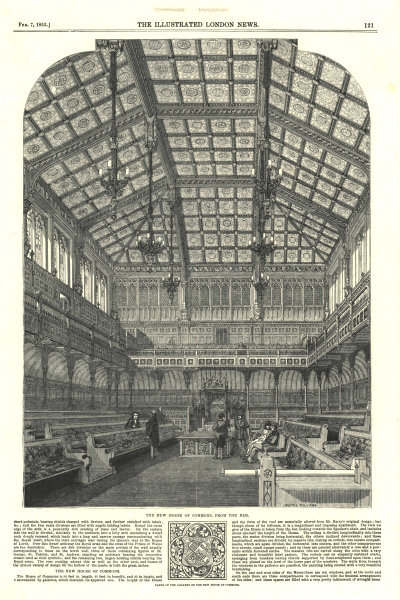 Associate Product The new House of Commons, from the bar. London. Politics 1852 antique ILN page