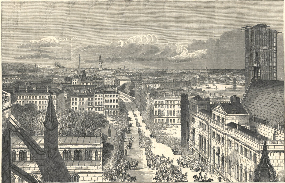 Associate Product Opening of Parliament. Royal procession from Westminster Abbey. Whitehall 1852