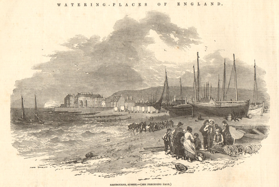 Associate Product The seafront at Eastbourne, Sussex. Fishing boats & fishermen 1852 ILN print