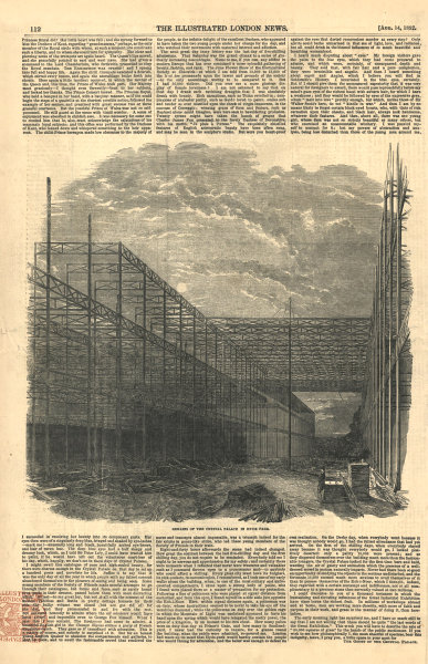 Associate Product Remains of the Crystal Palace in Hyde Park. London. Disasters 1852 ILN print