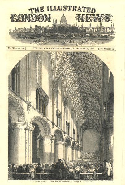 Associate Product The grand musical festival in Hereford Cathedral. Herefordshire. Churches 1852