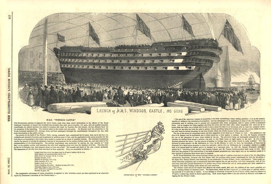 Associate Product Launch of H. M. S. Windsor Castle, 140 Guns. Royal Navy. Ships 1852 ILN print