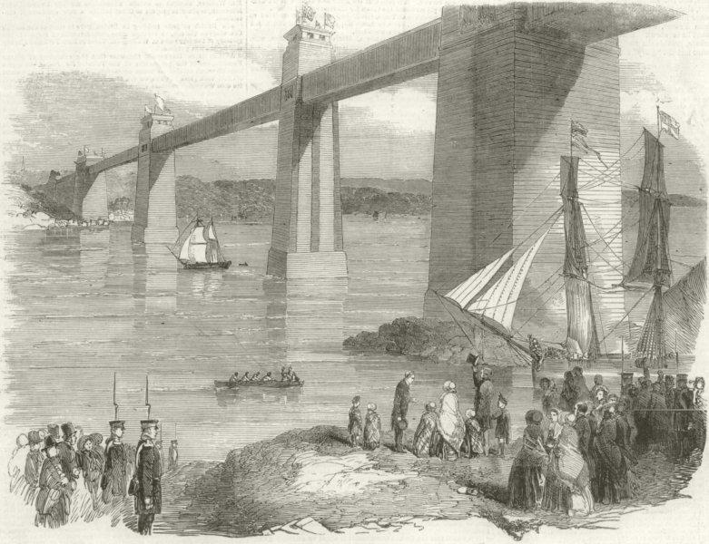 Associate Product Queen Victoria. Britannia Tubular Bridge. Wales. Menai Strait. Anglesey 1852