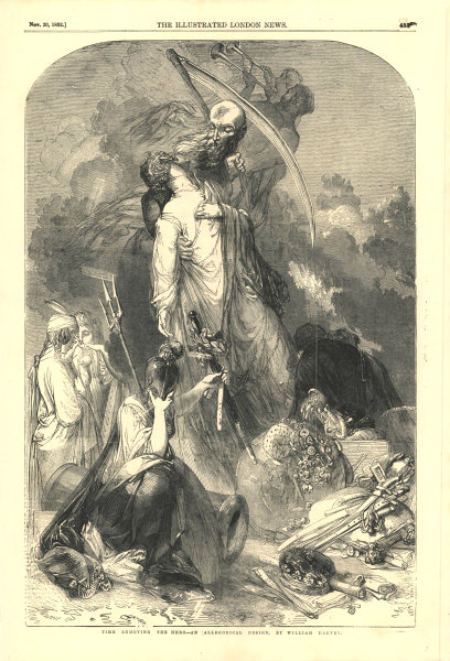 Associate Product Time removing the hero - an allegorical design. Fantasy. Decorative 1852