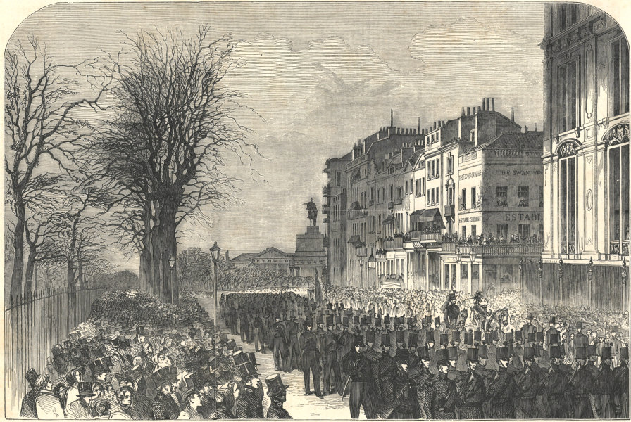 Associate Product Piccadilly - head of the procession - the Rifle Brigade. London 1852 ILN print