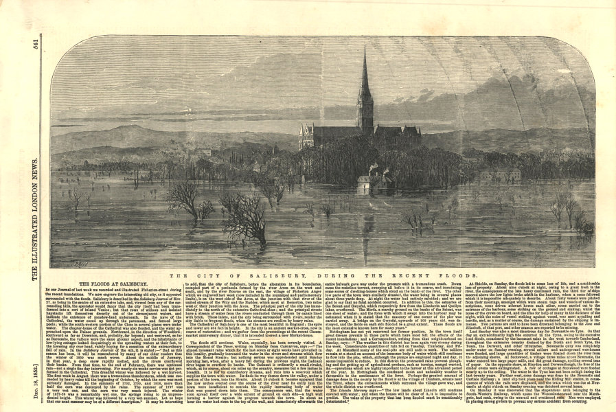 Associate Product The city of Salisbury, during the recent floods. Wiltshire 1852 ILN full page