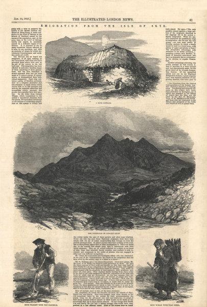 Associate Product Isle of Skye: Cottage. Cuillin Hills. Caschrom. Peat creel. Scotland 1853