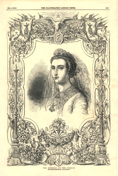 Associate Product The Empress of the French. Royalty. France 1853 antique ILN full page print