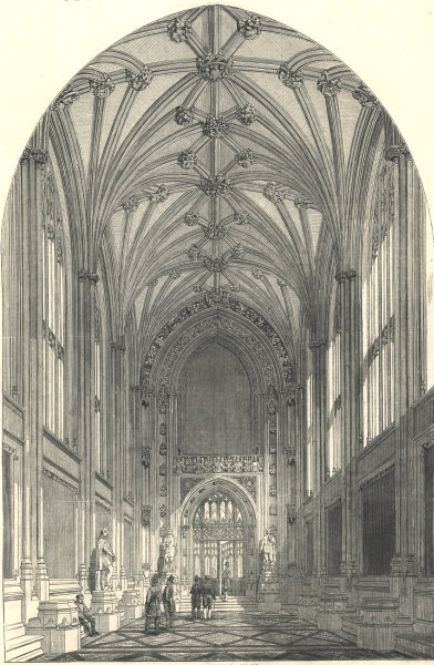 The New Houses of Parliament: St. Stephen's Hall. London. Buildings 1853