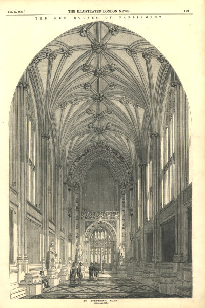 Associate Product The New Houses of Parliament: St. Stephen's Hall. London. Buildings 1853