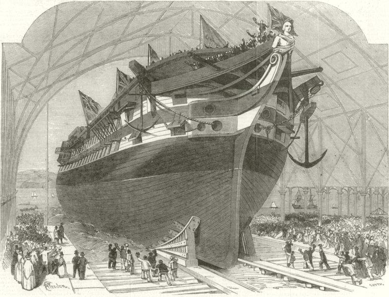 Associate Product Launch of HMS James Watt, Royal Dockyard, Pembroke. Wales 1853 ILN full page