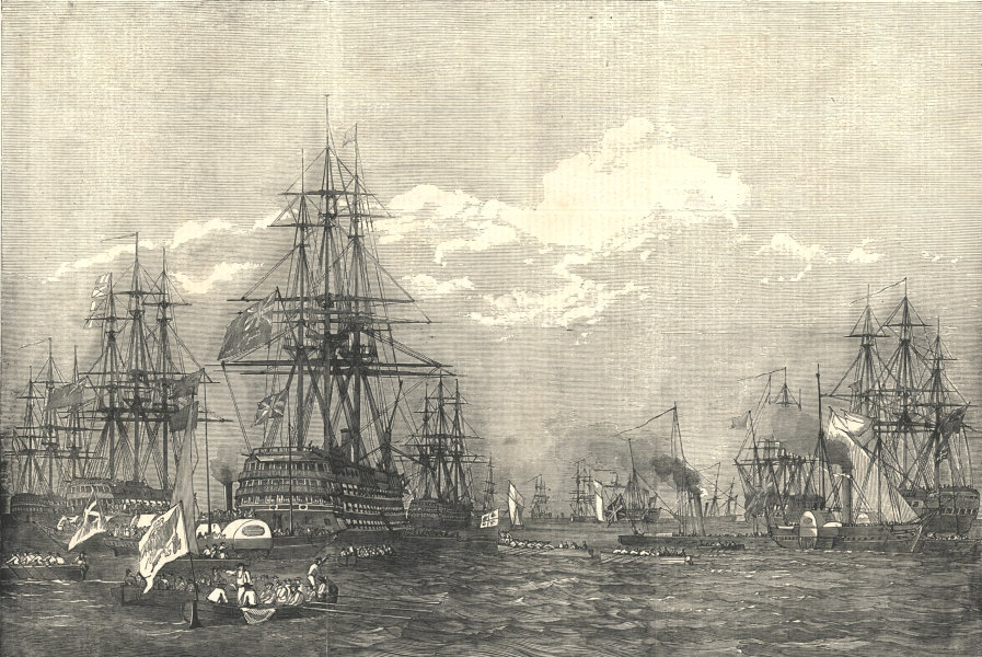 """Associate Product Her Majesty proceeding to """"The Duke of Wellington"""" flagship. Royal Navy 1853"""