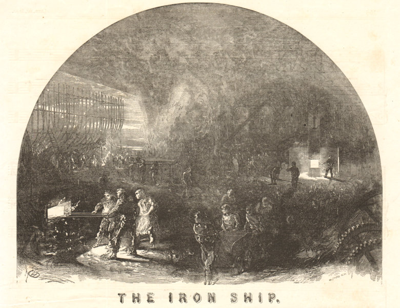 Associate Product The iron ship. Manufacturing. Manufacturing 1853 antique ILN full page print