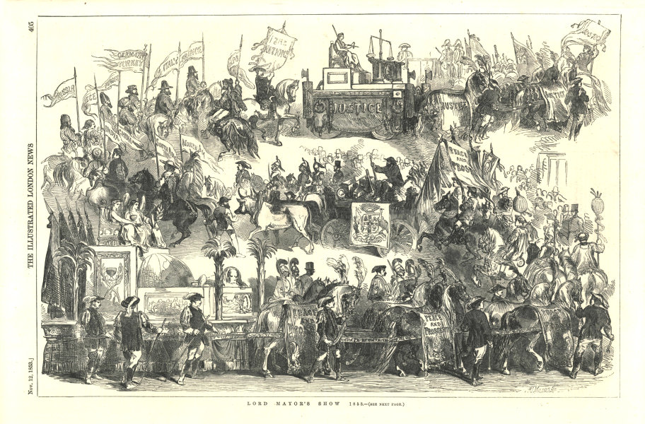 Associate Product Lord Mayor's Show. London. Society 1853 antique ILN full page print 1853