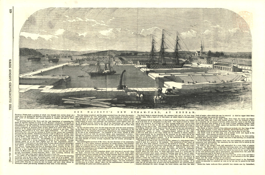 Associate Product Her Majesty's new steam-yard, at Keyham. Devon. Ports 1853 ILN full page print