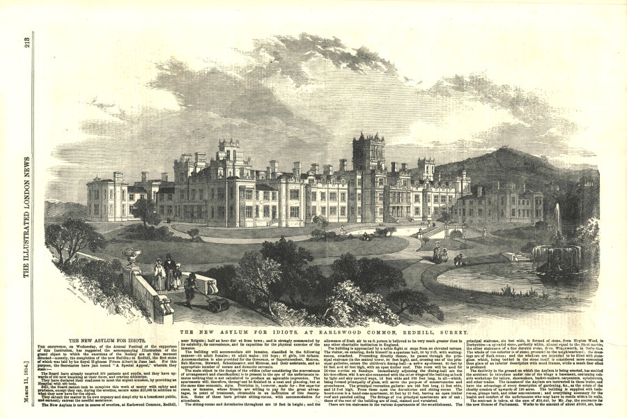 Associate Product The new asylum for idiots, at Earlswood Common, Redhill, Surrey. Buildings 1854