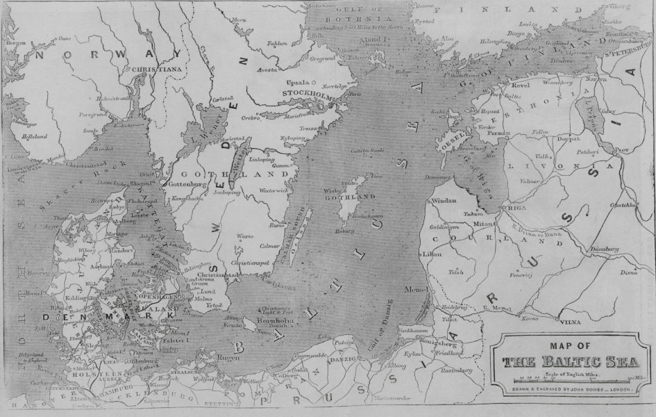 Map of the Baltic Sea. Scandinavia 1854 map antique ILN full page print