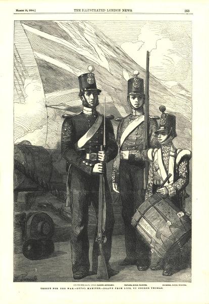 Crimean War British Army troops. Royal Marines Colour-Sergeant Artillery 1854