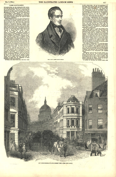 The late James Montgomery - city improvements - Cannon Street west. London 1854