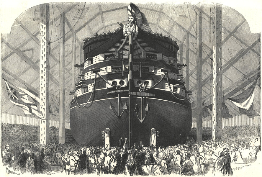Associate Product Launch of The Royal Albert at Woolwich. Queen Victoria receiving the wine 1854
