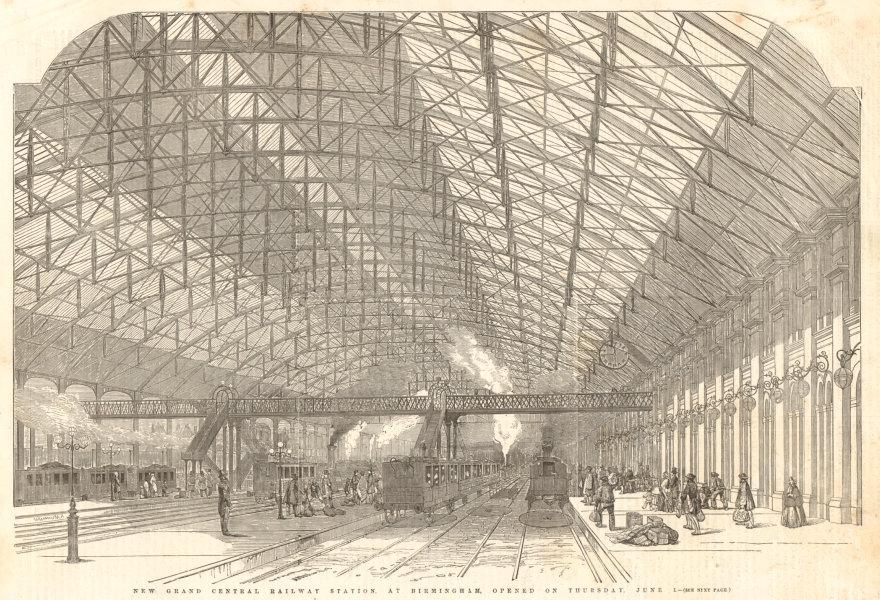 Associate Product New Grand Central Railway Station at Birmingham. Warwickshire 1854 ILN print