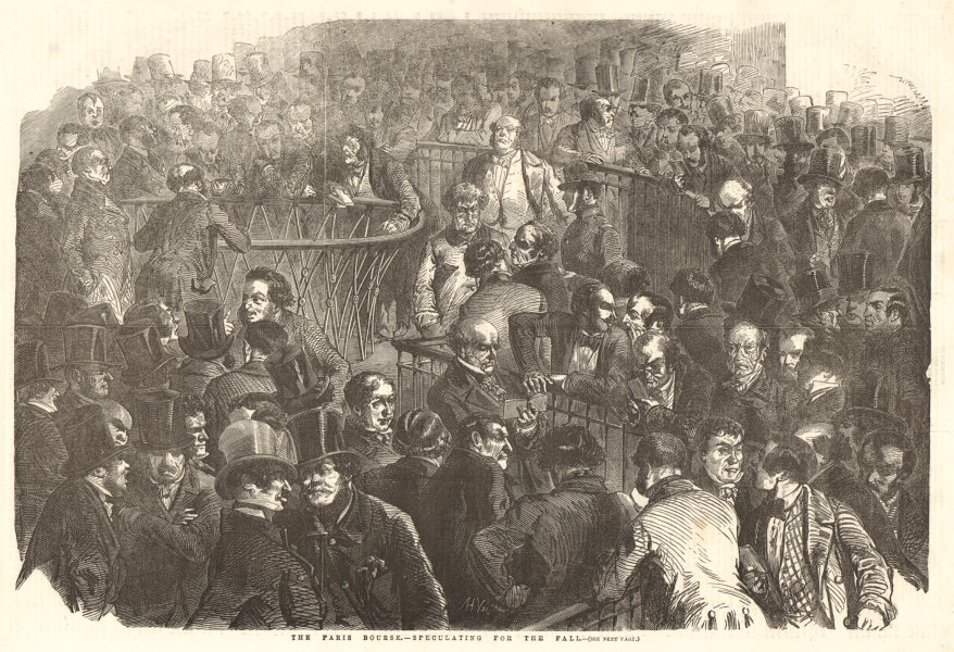 Associate Product The Paris Bourse - speculating for the fall. Finance 1854 ILN full page print