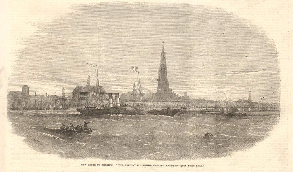 """Associate Product New route to Belgium - """"the Aquila"""" steam-ship leaving Antwerp 1854 ILN print"""