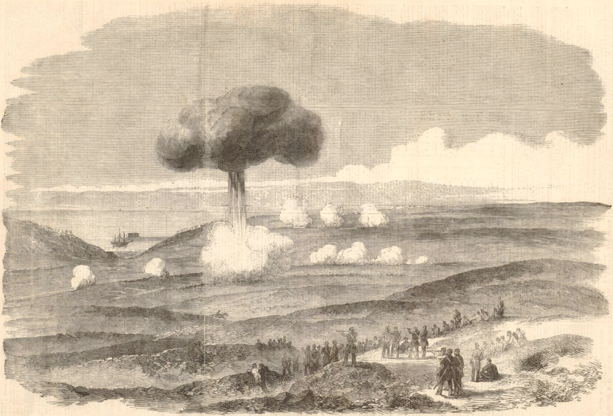 Associate Product Siege of Sevastopol Powder Magazine explosion English Trenches. Crimean War 1854