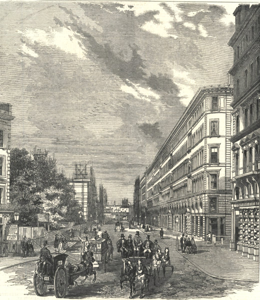 Associate Product Victoria Street, Westminster. London 1854 antique ILN full page print