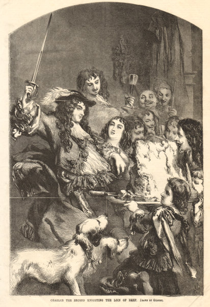 Associate Product King Charles the Second knighting the loin of beef. Sirloin 1854 ILN full page