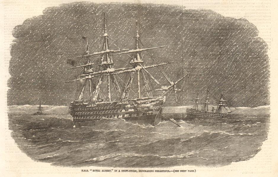 "Associate Product HMS ""Royal Albert"" in a snow-storm, blockading Sevastopol. Crimea. Ships 1855"