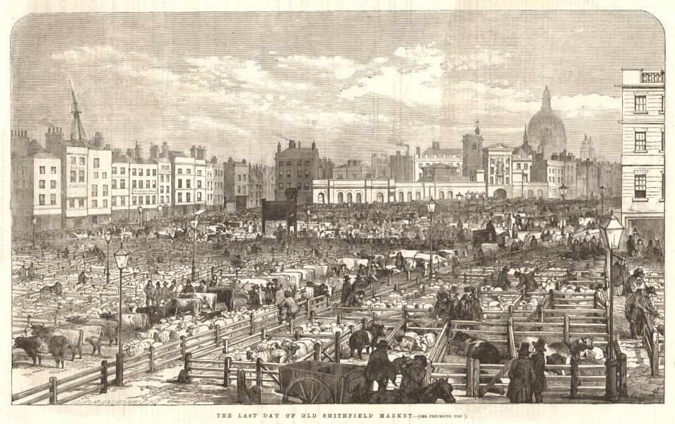 Associate Product The last day of old Smithfield Market. London 1855 antique ILN full page print