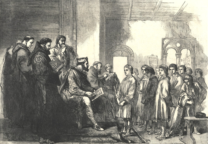 """Associate Product """"King Alfred the Great teaching the Anglo-Saxon youth"""". England 1855 ILN print"""