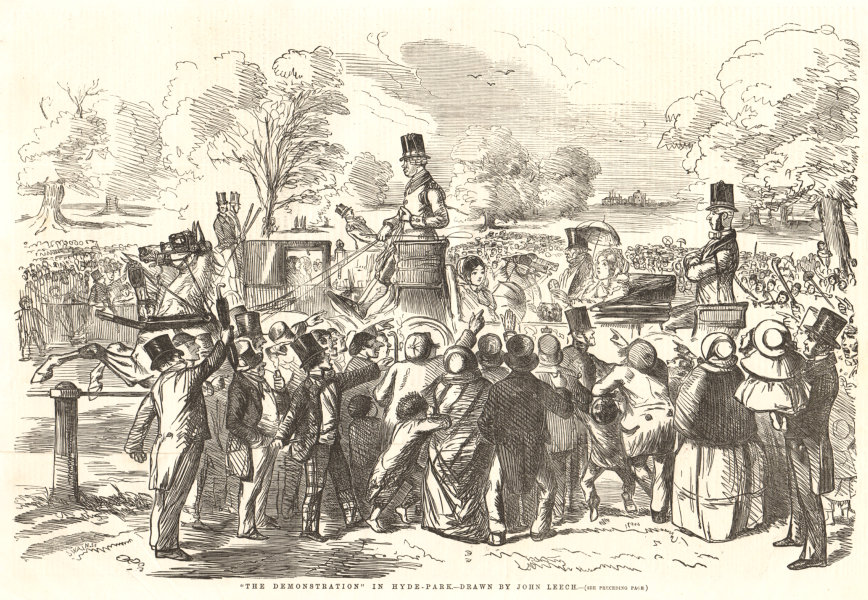 Associate Product The demonstration in Hyde Park - drawn by John Leech. London. Society 1855