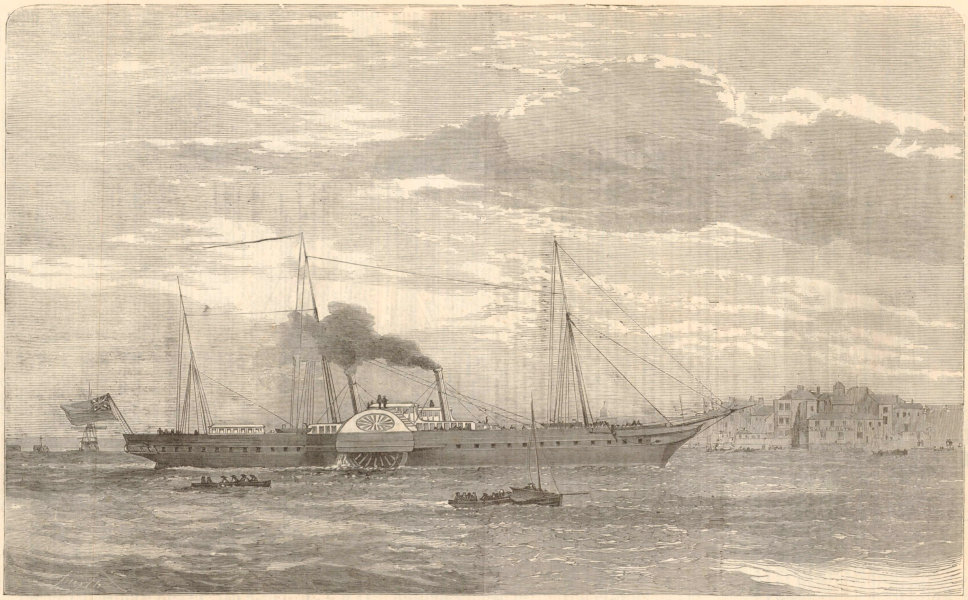 """Associate Product Her Majesty's new Steam Yacht """" Victoria & Albert. """" 1855 ILN full page print"""