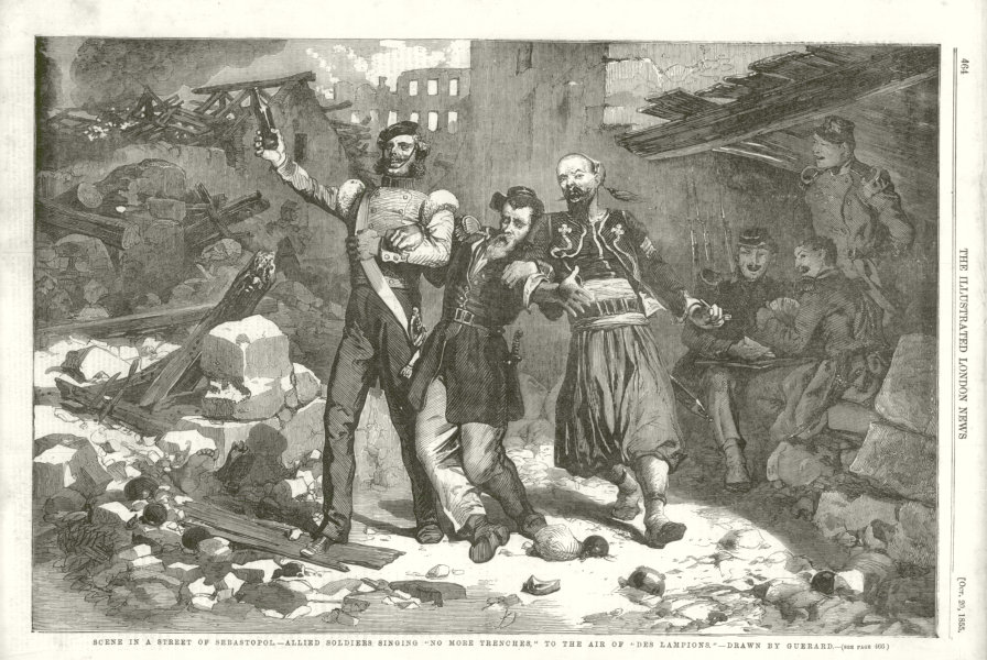 """Associate Product Sevastopol. Allied Soldiers singing """" No More Trenches """". Crimean War 1855"""