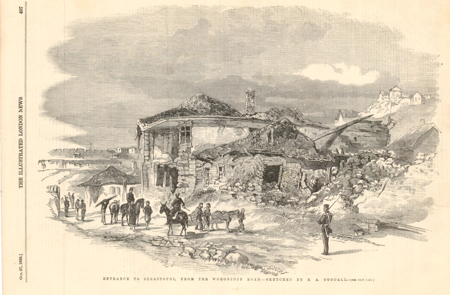 Associate Product Entrance to Sevastopol, from the Vorontsov Road. Crimean War 1855 ILN print