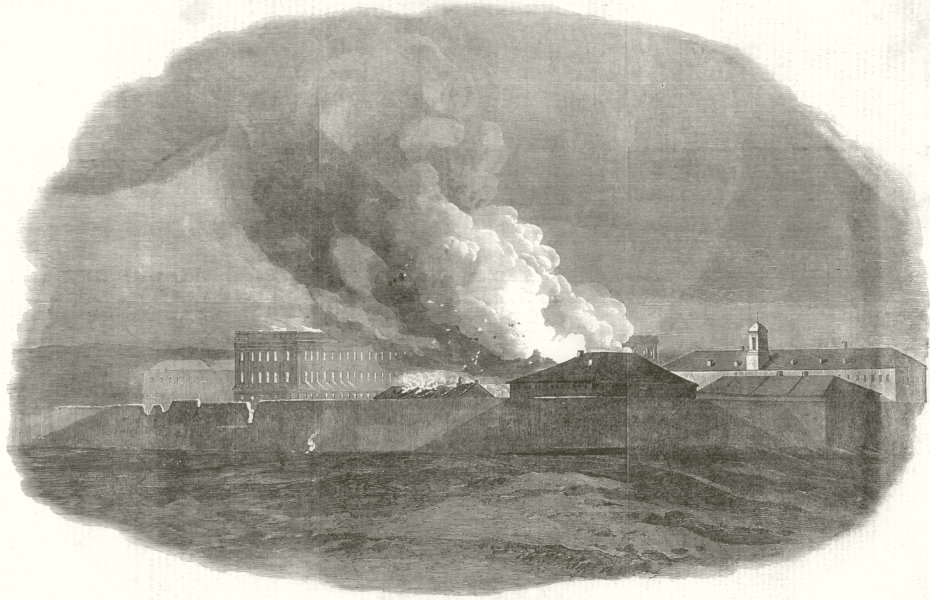 Associate Product Siege of Sevastopol. Destruction of part of Large Barracks. Crimean War 1855