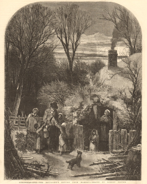 Associate Product Christmas Eve - the cottager's return from market, by Birket Foster. Family 1855