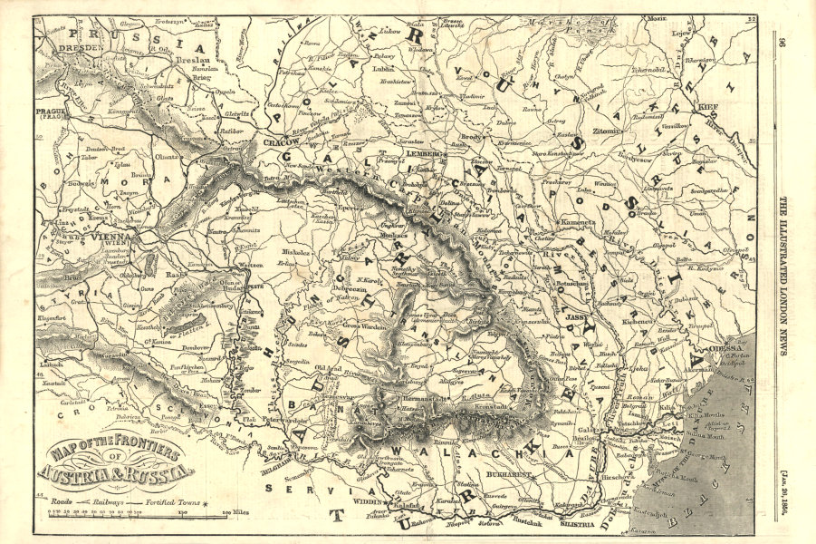 Associate Product The frontiers of Austria & Russia. Romania Hungary Moldova Poland 1856 map