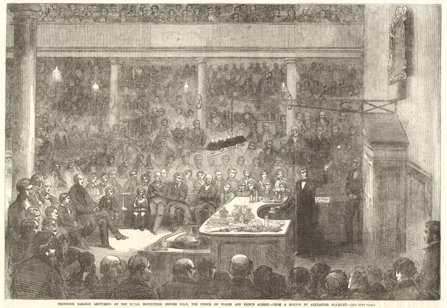 Associate Product Professor Faraday lecturing at the Royal Institution. Prince Albert 1856