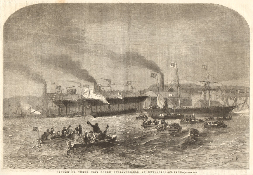 Associate Product Launch of three iron screw steam-vessels, at Newcastle-on-Tyne. Ships 1856