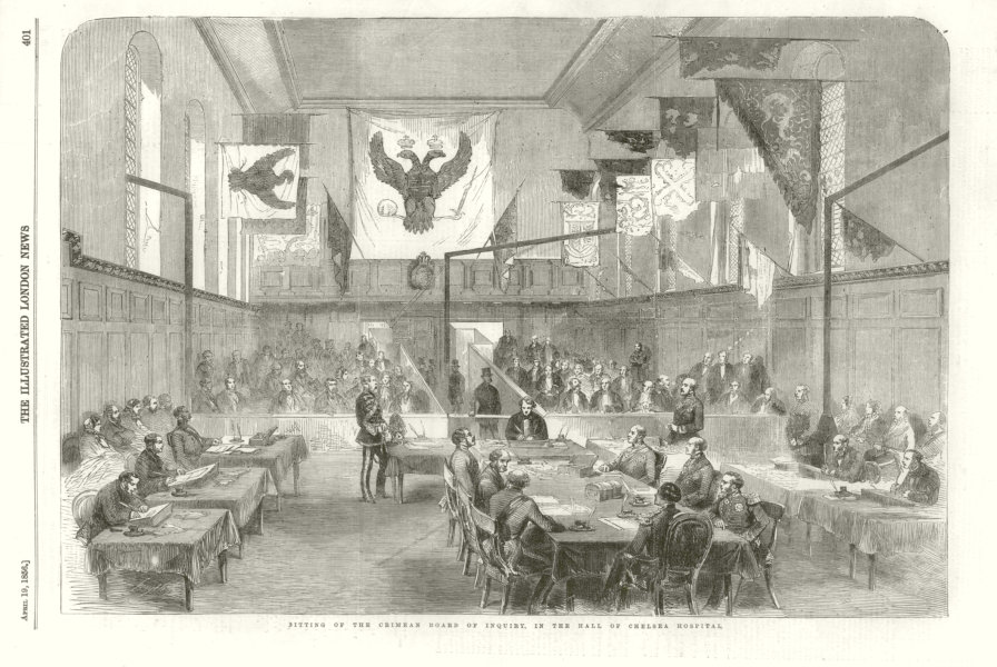 Associate Product Sitting of the Crimean Board of Inquiry, Chelsea Hospital 1856 ILN full page