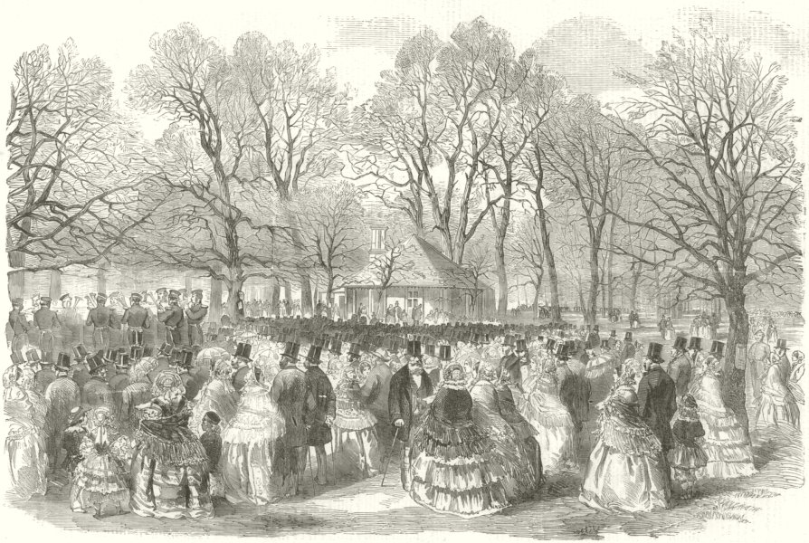 The Band of the Royal Horse Guards, playing in Kensington Gardens. London 1856