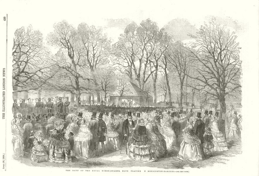 Associate Product The Band of the Royal Horse Guards, playing in Kensington Gardens. London 1856