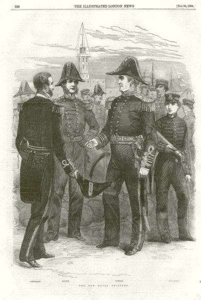 Associate Product Royal Navy Uniforms. Lieutenant, Captain, Admiral, Midshipman 1856 ILN print