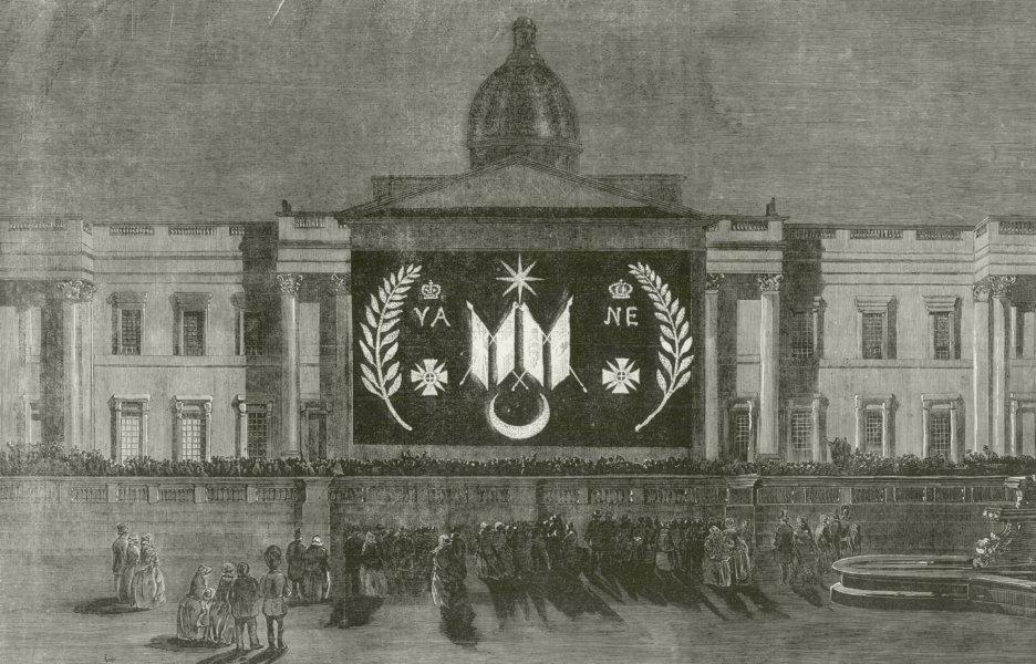 Associate Product Crimean War. Peace Illuminations - The National Gallery. London 1856 ILN print
