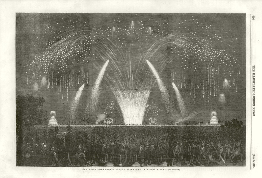 Associate Product Crimean War. Peace Commemoration - The Fireworks in Victoria-Park. London 1856